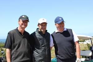 Beste Laune schon vor dem Spiel! v.l.n.r.: Michael Brendel, Luis Figo, Markus Schreyögg.
